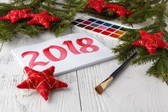 Happy New Year 2018. Pastel drawing. royalty free stock photo