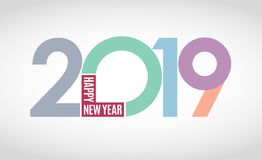 Happy 2019 new year. Pastel, subtle light-colored numbers on white background. Vector illustration and photo image available vector illustration