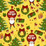 Happy new year pattern with Santa Claus, christmas tree, gifts, bell, stars, wreath. Funny pattern on a yellow background. Royalty Free Stock Photos