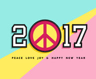 Happy New Year 2017 peace patch icon card design Royalty Free Stock Photography