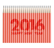 Happy new year 2016 with pencils background.  stock illustration