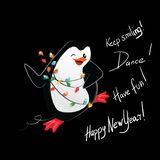 Happy new year penguin dance vector card stock illustration