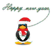 Happy new year. Penguin with the inscription of the lights Royalty Free Stock Images