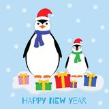 Happy new year. Penguins in Christmas hats and gifts on the ice vector illustration