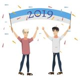 2019 Happy New Year people celebration. Vector illustration Royalty Free Stock Photography