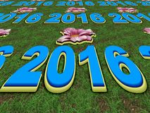 Happy New Year 2016 perspective image. With grass Stock Images