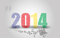 Happy new year pf 2014 eps10. Happy new year pf 2014 numbers eps10 Stock Illustration