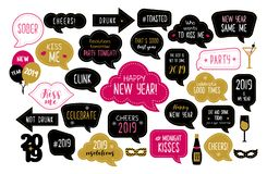 Happy new year 2019 photo booth props. New year eve party. Photobooth vector set for masquerade. Christmas and new year funny quotes on speech bubbles. Cheers vector illustration