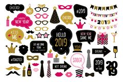 Happy new year 2019 photo booth props stock illustration