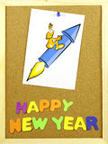 Happy New Year phrase on a corkboard Royalty Free Stock Image