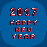 Happy 2017 New Year phrase created in digital technology style, Stock Image