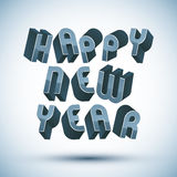 Happy New Year phrase, 3d retro style geometric. Happy New Year card with phrase made with 3d retro style geometric letters royalty free illustration