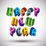 Happy New Year phrase, 3d retro style geometric Royalty Free Stock Photo