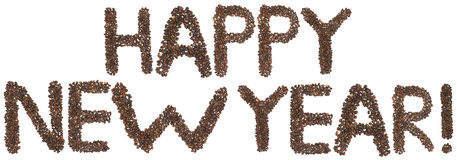 Happy new year phrase made of cedar nuts. Happy new year phrase text made of cedar nuts royalty free stock images