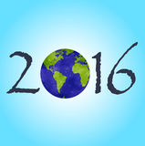 Happy New 2016 Year. Picture with a planet on it. Blue background Stock Photography