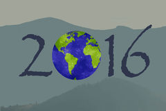 Happy New 2016 Year. Picture with a planet on it. Stock Photos