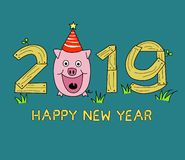 Happy New Year 2019, royalty free illustration