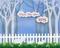 Happy new year 2019 with pig family on paper art background. Vector illustration vector illustration