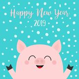 Happy New Year 2019. Pig piggy piglet face head. Hands up. Chinise symbol. Snow flake falling down. Cute cartoon funny character. Flat design. Blue background vector illustration