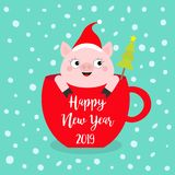 Happy New Year 2019. Pig sitting in red coffee cup teacup. Cute cartoon character. Santa hat. Fir tree. Face and hands. Hello. Winter. Merry Christmas royalty free illustration
