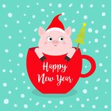 Happy New Year 2019. Pig sitting in red coffee cup teacup. Fir tree. Santa hat. Face and hands. Cute cartoon character. Hello. Winter. Merry Christmas vector illustration
