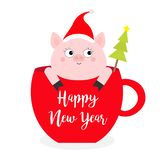 Happy New Year 2019. Pig sitting in red coffee cup teacup. Fir tree. Santa hat. Face and hands. Cute cartoon character. Hello. Winter. Merry Christmas. White vector illustration