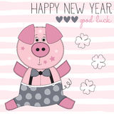 Happy new year pig vector illustration Stock Photos