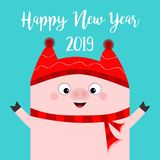 Happy New Year. Pig wearing red hat, scarf. Chinise symbol of 2019. Hands up. Cute cartoon funny character. Flat design. Blue back. Ground. Isolated. Vector vector illustration