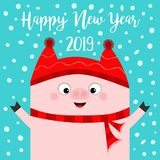 Happy New Year. Pig wearing red hat, scarf. Chinise symbol of 2019. Hands up. Snow flake falling down. Cute cartoon funny characte. R. Flat design. Blue vector illustration
