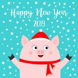 Happy New Year 2019. Pig wearing red hat, scarf. Snow flake falling down. Chinise symbol. Hands up. Cute cartoon funny character. Flat design. Blue background royalty free illustration