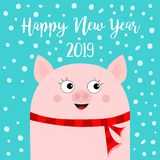 Happy New Year 2019. Pig wearing red scarf. Chinise symbol. Hands up. Snow flake falling down. Cute cartoon funny character. Flat. Design. Blue background vector illustration