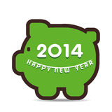 Happy new year 2014. On piggy bank design background Stock Image
