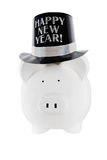 Happy new Year. Piggy bank wearing a happy new year party hat on an isolated white background Royalty Free Stock Image