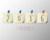 2016 Happy New Year pin board background.vector. Royalty Free Stock Images