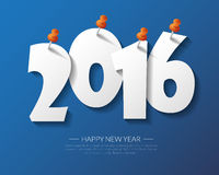 2016 Happy New Year pin board background.vector. Royalty Free Stock Photography