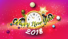 Happy new year with pink background party concept.  Royalty Free Stock Photography