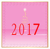 Happy New Year 2017 pink background. Red numbers on a pink background Royalty Free Stock Photography