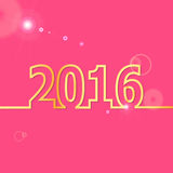 2016 Happy New Year on pink background Stock Photo
