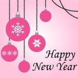 Happy New Year pink balls hanging card vector.  vector illustration