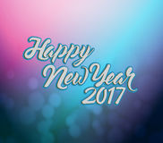 Happy new year 2017 pink and blue bokeh Royalty Free Stock Photos