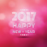 Happy new year 2017. In pink bokeh blur pattern background ,vector illustration Royalty Free Stock Images