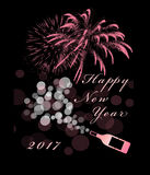 Happy New Year. 2017 with pink fireworks and bubbly wine Royalty Free Stock Photo