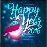 2018. Happy New Year. Pink Gift box with blue glossy bow, ribbons, glitters. Vector illustration 3d Royalty Free Stock Image