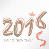 Happy new year 2016 pink with gold crown. In winter Royalty Free Stock Image