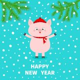 Happy New Year. Pink pig. Falling snow. Chinise symbol of 2019. Fir tree. Branch spruce Cute cartoon funny character. Flat design. Blue background. Vector stock illustration