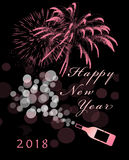 Happy New Year. Pink sparkling wine and fireworks on a black background for the 2018 New Year Royalty Free Stock Photos