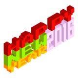 Happy New Year 2016 pixel art 8 bit style. Pixel art 8 bit style colourful design happy new year 2016, Vector illustration Stock Image