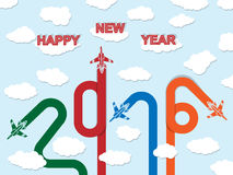 2016 happy new year plane. And merry christmas stock illustration