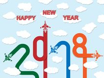 2018 Happy new year plane. For web stock illustration