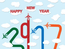 2017 HAPPY NEW YEAR PLANE. Xcvb vector illustration